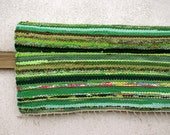 Rug - handwoven. Green, lime green, 2.07' x 7.25'