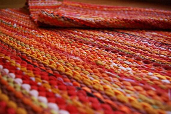 Hand woven Rag Rug - sunny yellow orange 3.25' x 6.59'