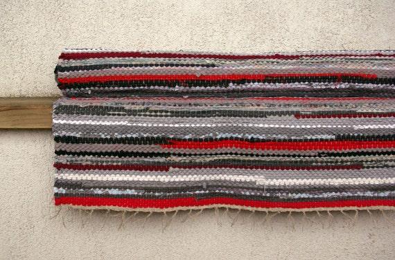 Hand woven Rag Rug - red, grey 2.07' x 5.61'