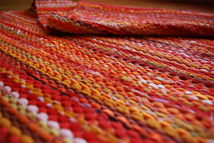 Hand Woven Rag Rug Sunny Yellow Orange 3 25 X 6 59 By Dodres