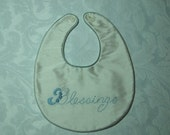 Boy's Christening Bib/Baby Shower Gift, silk, hand embroidered, handmade, ready to ship