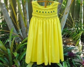 Hand smocked girls dress - Summer Rose - Size 4      Ready to Ship