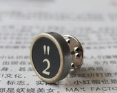Typewriter key tie tack or brooch - vintage black key - number 2