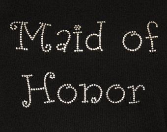 Maid of Honor Girly Rhinestone Iron On Heat Transfer - DIY
