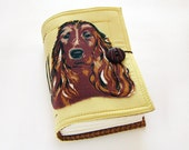 Spaniel Dog - Handmade Fabric Journal, Diary, Sketchbook
