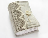 Grey Linen Handmade Journal, Sketchbook, Notebook, 240 pages, blank paper