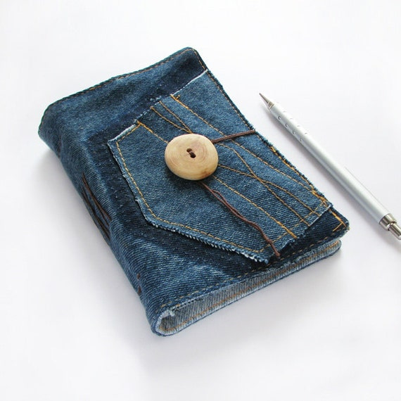 Recycled Blue Denim Jeans Handmade Journal with Pockets, Notebook, Diary, upcycled paper