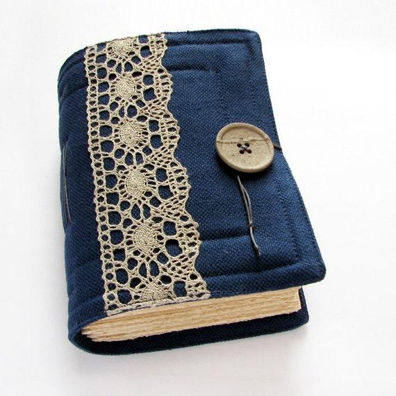 Large Dark Blue Handmade Journal, Sketchbook, Diary, Art Book, beige blank paper