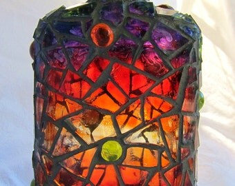 Painted Mosaic Bottle in Sunset Colours