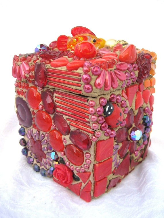 Mosaic Box Trinket Treasure Chest all in RED