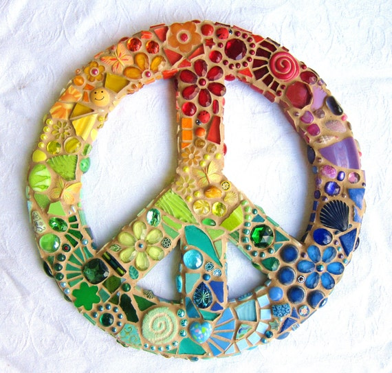 Reserved Listing for Sallystride for two Rainbow Mosaic Peace Signs
