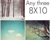 SAVE 20% off set of any three 8x10 fine art prints - YOU pick Print set, Art collection