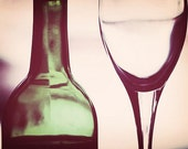 "Kitchen Art: Wine Art abstract wine glass and bottle ""in vino veritas"" Fine Art Still life Photography Dining room print Wine Art Print"