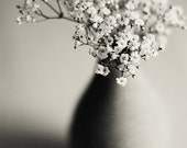 Posy 8x12 Fine Art Photography Print Black and White flowers Still life Baby's breath Nature Photo Vertical - MarianneLoMonaco