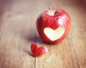 Kitchen Art Food: Red Apple heart 5x7 Fine Art Photography Wall Art Print Fruit Still life Fruit Wall Art Kitchen wall art fruit - MarianneLoMonaco