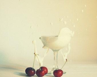 Food Photography Art for kitchen: cherry splash  fine art print Food Fruit cream Red White Still life Photo,canadian photography