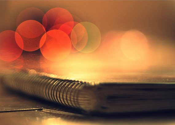 Still life photography Bokeh: write in down and keep it safe Fine Art Photography book art, Orange peach yellow Book Photography Bokeh Print
