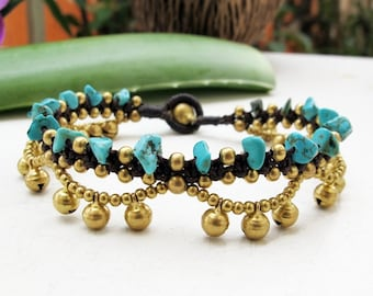 Boho Bracelet Little Cascade Brass Bell with  Turquoise
