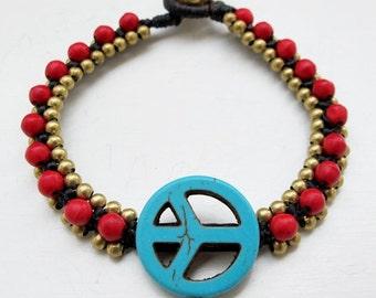 Charm   Blue  Peace Sign Knot Bracelet