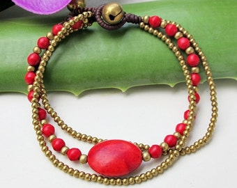 Charm Oval  Red Coral Stone Wrap Bracelet