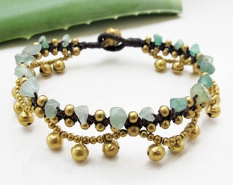 Boho Bracelet Little Cascade Brass Bell with  Aventurine