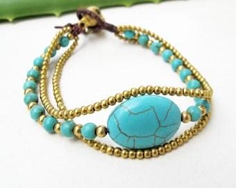 Charm Oval  Turquoise Stone Wrap Bracelet