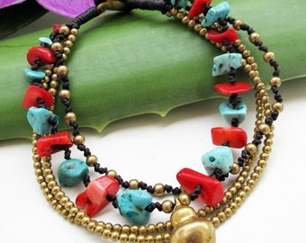 Multi Strand Red and Bule and Brass Bead Bracelet
