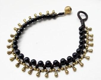 Little Gaging Brass Onyx Water Drop Woven Bracelet
