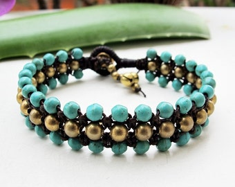 Fruity Season  Turquoise Bead Triple Row Macrame Bracelet