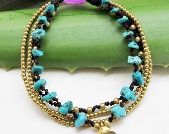 Multi Strand  Blue Turquoise and Brass Bead Bracelet