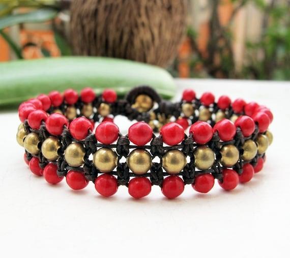 Fruity Season Red Coral  Bead Triple Row Macrame Bracelet