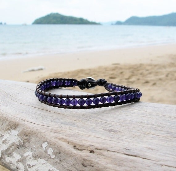 Single Wrap Leather Anklet with Amethyst Stone