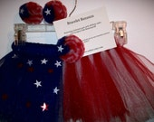 Red, White and Blue Fourth of July Tutu Set with barefoot sandals and hairbow.