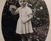 Circa 1930s Antique Real Photo of  French Toddler young girl
