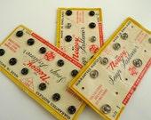 Vintage Haberdashery. 1930s  3 metal button cards.
