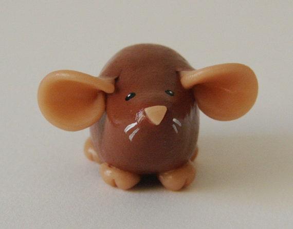 Fancy Rat Ornament Brown Agouti Dumbo Dumpy Rat Sculpture