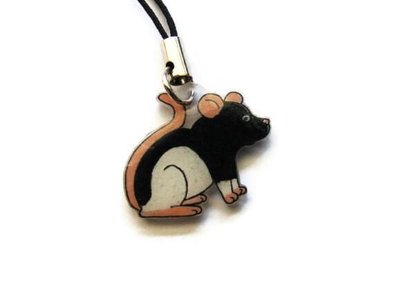 Fancy Rat Phone Charm Black Hooded Rat