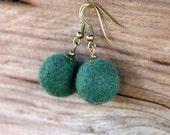 Green felt earrings