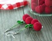 Little cherries - red  felt earrings