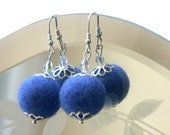 Cobalt Blue Felt Earrings