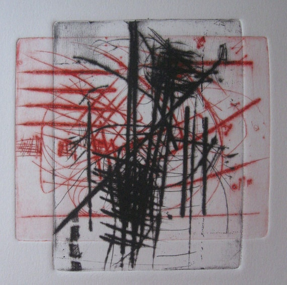 printmaking, hand pulled print, Premonition