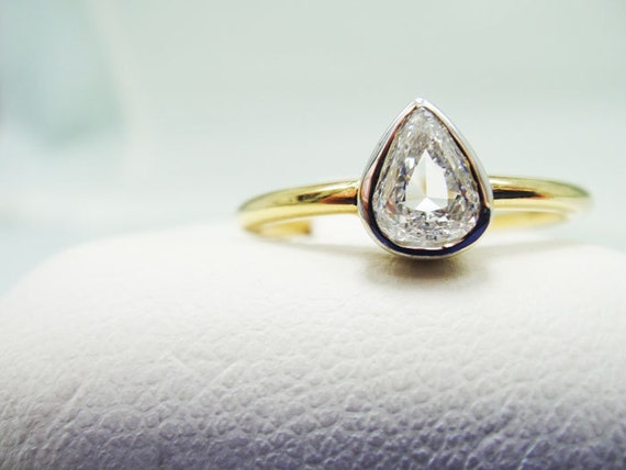 Pear Shaped Diamond Engagement Ring, 14k Yellow Gold