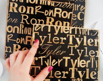 Name sign Art : Custom name block for childrens room Wooden Letters with custom name decal
