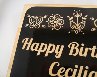 Wooden Birthday Tile with Flowers- birthday card, floral birthday gift