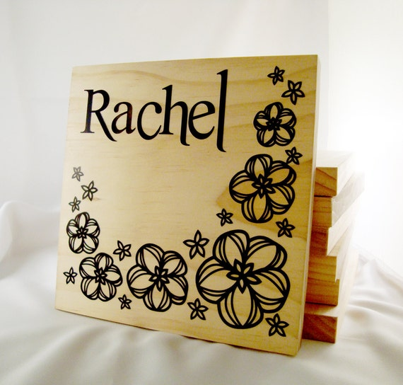 Flower name sign- Wooden block wiht custom decal- custom floral name sign
