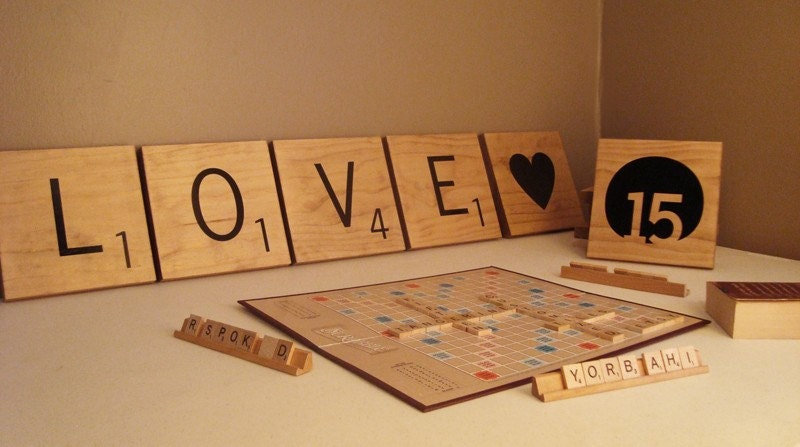 Oversized scrabble letter tiles wall art pick by 15tangerines for Large scrabble letters wall decor