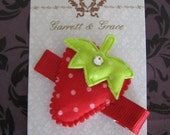 Strawberry Red and Green Hair Clip with Swarovski Crystal Accent