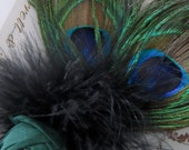 Headband - Dupioni Silk Rosette with Swarovski Crystal, Peacock and Marabou Feather Accents