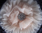 Creamy Blush Tulle Flower Accessory with Rhinestone Accent Center