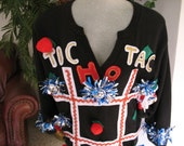 Ugly Christmas Sweater Large Tic Tac Ho One of a kind hand decorated Custom Design
